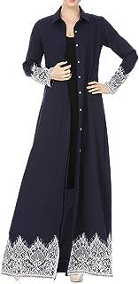 Women Kaftan - Lace Trimmed Front Abaya Muslim Maxi Kaftan Kimono Long Dress Shirt