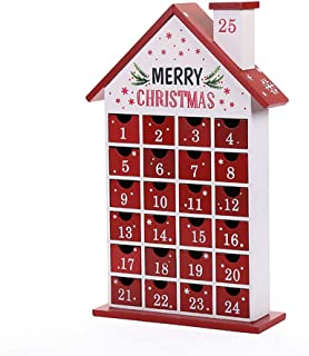 Wooden Christmas Advent Calendar - Red Cabin with 24 Drawers Countdown To Christmas Decoration Fill Small Gifts for Kids