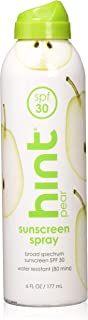 Hint Sunscreen, SPF 30, 6 fl oz, Oxybenzone Free, Paraben Free (Pear), Broad Spectrum SPF 30 Compressed Air Spray-On Sunscreen, Water Resistant, Pear Scented