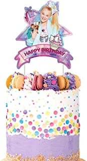 Jojo Unicorn Bow Cake Topper Birthday Party Decoration Toppers - Purple Pink Starry Sky Shape
