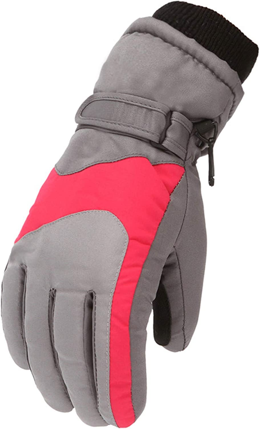 Ski Gloves for Boys Girls Waterproof Windproof Snow Skiing Mittens with Belt