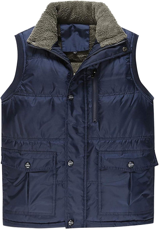 Haellun Mens Winter Warm Outdoor Padded Puffer Vest Thick Fleece Lined Outerwear