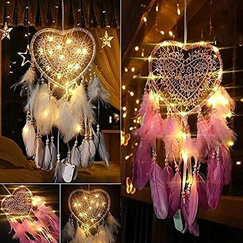 VARWANEO Romantic Ornaments Creative Hollow Out Love Heart Dream Catcher with Feather