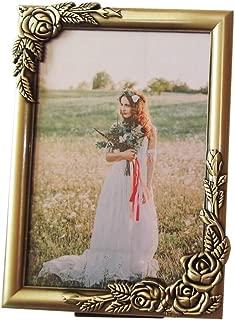 sunrisegifts Metal Emboss Rose Adorned Picture Frame 5x7 inch, Classic Floral Design Vintage Sturdy Alloy Photo Frames (Vintage Brass)
