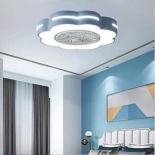 WRMING Ventiladores de Techo Silencioso con Lámpara, Moderno LED Luz Mando a Distancia Regulable, Metal Invisible Reversible Fan Lámpara para Verano y Invierno, Niños Lámpara, Ø58cm, 46W,Azul