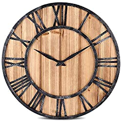 QMMD Stunning Silent Skeleton Black Large Wall Clock - Roman Numeral Open Metal Wall Clock Round - for Home Bar Kitchen, Wood Iron 40cm