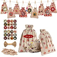 LessMo クリスマス ギフトバッグ 24枚 麻布 ラッピング袋 和風巾着袋 ミニポーチ プレゼント用 小物入り 手作り DIY 吊り飾り 誕生日 結婚式(麻布 10*14 24枚)