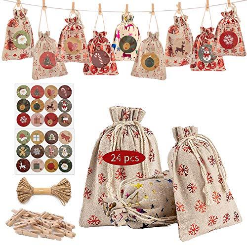 LessMo クリスマス ギフトバッグ 24枚 麻布 ラッピング袋 和風巾着袋 ミニポーチ プレゼント用 小物入り 手作り DIY 吊り飾り 誕生日 結婚式(麻布 13*18 24枚)