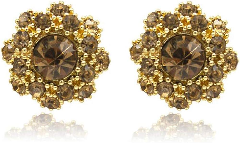 HAPPYAN Gold Color Rhinestone Crystal Clip on Earrings No Pierced Luxury Fashion Jewlery