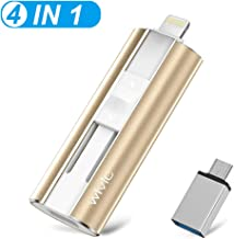 iOS USB Flash Drive for iPhone, Wivic Memory Stick 128GB Photo Stick USB 3.0 Flash Drive External Storage Thumb Drive for iPhone,iPad,Android,PC and More Devices with USB Port (Gold)