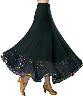 RIKOUZY 社交ダンス スカート ロング丈 マキシスカート花柄の裾 広がる モダンダンス 女性 コーラス フラメンコ ラテン タンゴ 練習用衣装 演奏会 舞台