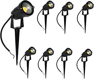 Newbility LED Landscape Light 5W Low Voltage 12V 24V Garden Lights with Ground Stake, Waterproof LED Spotlight Outdoor Path Lighting Warm White 3000K with Durable Spear Frame (8 Pack)