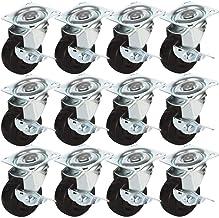 "2/"" w// brake-48 pcs 48 Pack 2/"" Swivel Caster w// brake Wheels Hard Rubber Base"