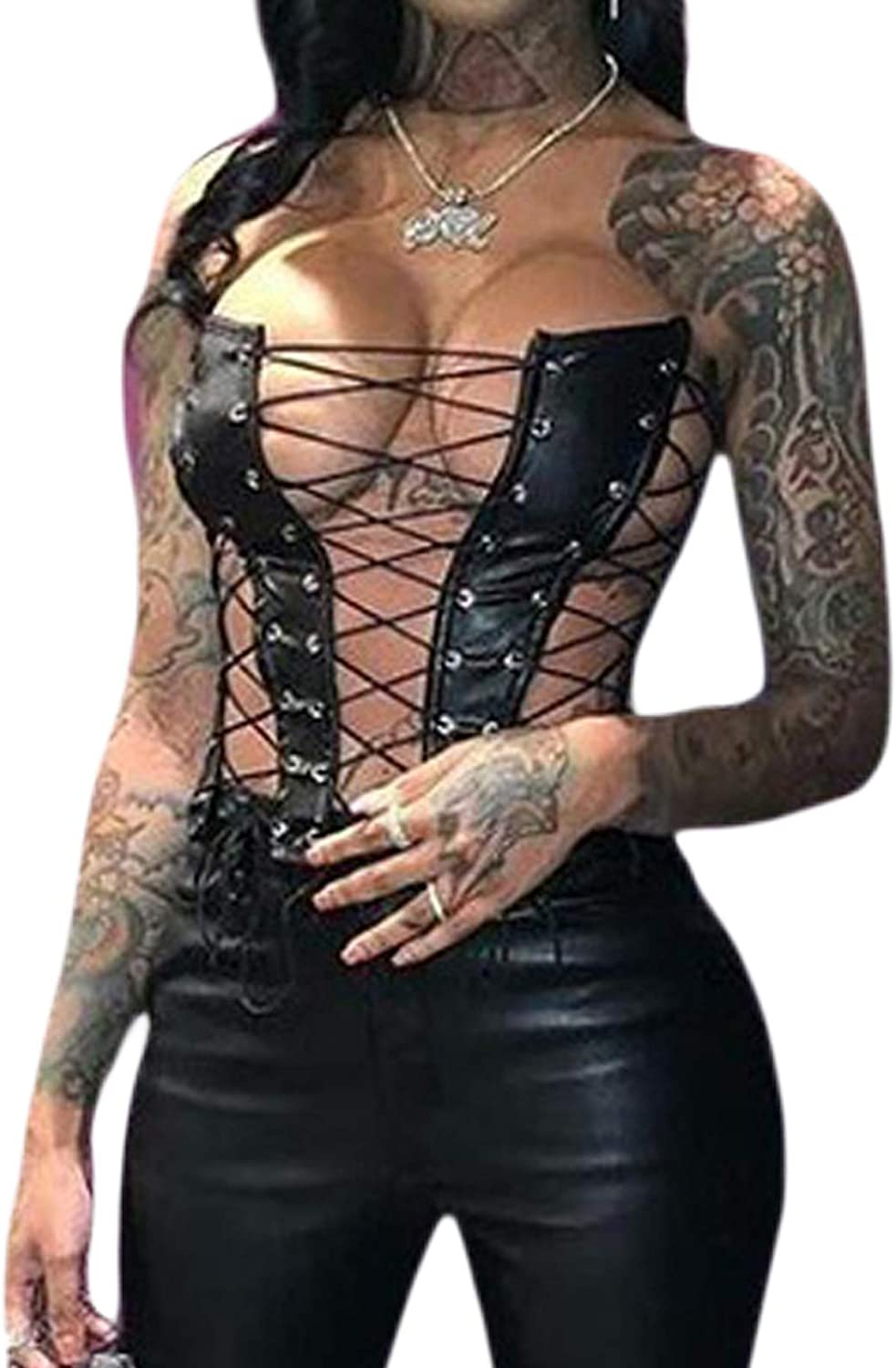 Multitrust Sexy Women Faux Leather Lace Up Strapeless Crop Tank Tops Summer Y2K Cami Shirts Party Camisole Streetwear