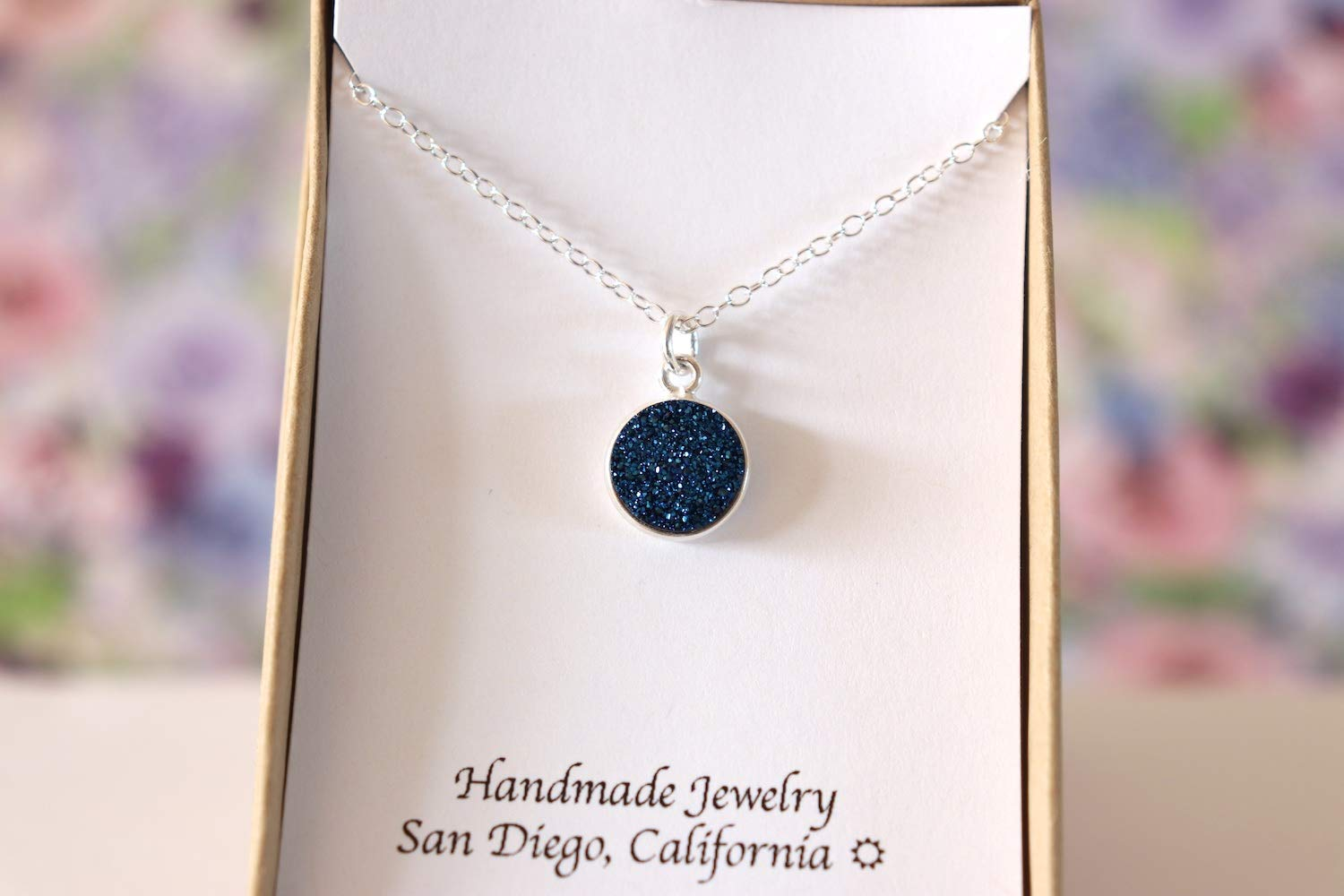 excellence Blue At the price Druzy Charm Necklace Sterling Silver