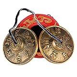 6,5cm Campana Tibetana + Caja de transporte Campana de Platillo de Bell con Símbolos de Suerte para Tingsha Meditación Yoga