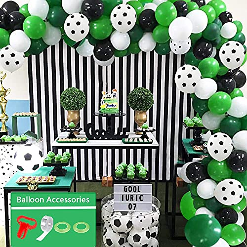 Soccer Ballons Arch Garland Kit, 94pcs Soccer Party Supplies Decorations with Green White Black...