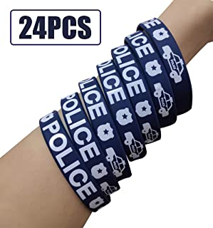 24PCS Police Party Favors Rubber Bracelets for Adult Kids - Police Birthday Party Supplies Decorations Goodie Bag Stuffers Silicone Wristbands