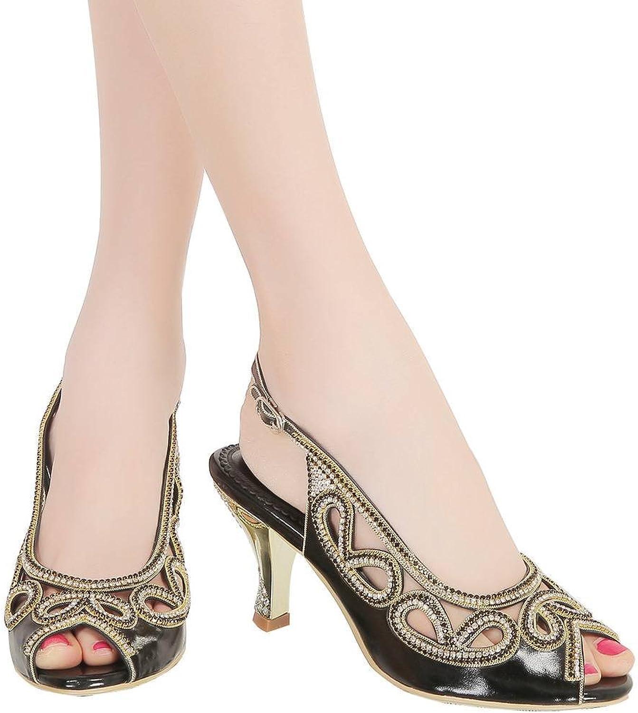 YooPrettyz Peep Toe Bridal Kitten Heel Cutout Slingback Club Party Evening Dress Pump Low Heel