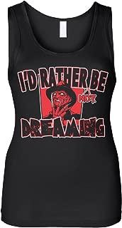 Cybertela Women's I'd Rather Not Be Dreaming Freddy Krueger Slim Fit Tank Top