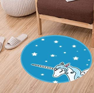 Round Bathroom Rugs Velvet Bath Mat Non-Slip Door Carpet Soft Luxury Microfiber Machine-Washable Floor Rug for Doormats Tub Shower(60CM)-Blue and White Pegasus Unicorn