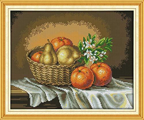 Kit broderi point croix Korb voller Orangenduft 47 × 40cm pré-imprimé broderie superbe Canevas motif pour débutants enfants et adultes