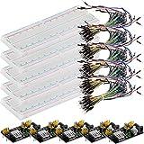 AZDelivery 5 x MB 102 Breadboard Kit - 830 Breadboard, Fuente de alimentación Adaptador 3,3V 5V, 65 x Jumper para Arduino