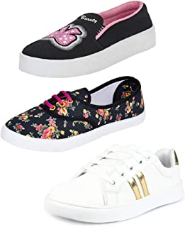 Bersache Combo Pack of 3 Stylish & Designer Canvas Loafer & Moccasins Shoes for Women