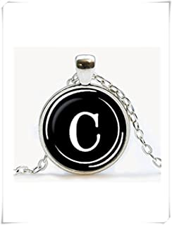 Elf House Vintage Typewriter Key Pendant. Letter C Necklace. Typewriter Jewelry,Dome Glass Jewelry, Pure Handmade