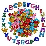 Anyasen Pegatina de Espuma Brillo Autoadhesiva 172 pcs Brillante Pegatina de Estrella Letras corazón Autoadhesiva EVA adhesivas para Arte de DIY decorar manualidades
