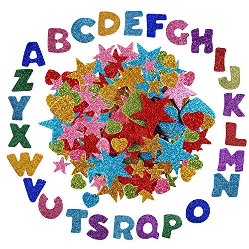 Anyasen 172 Stück Glitter Schaumstoff Sticker Selbstklebendes Glitzernde Moosgummi Aufkleber Stern Miniherz Buchstaben dekorativer Aufkleber für DIY Handwerk Wand Home Decor