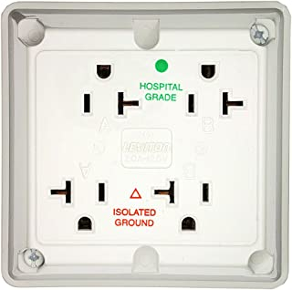 Leviton 21254-IGW 20 Amp, 125 Volt, Industrial Series Extra Heavy Duty Hospital Grade, 4-In-1 Receptacle, Isolated Ground, Straight Blade, White