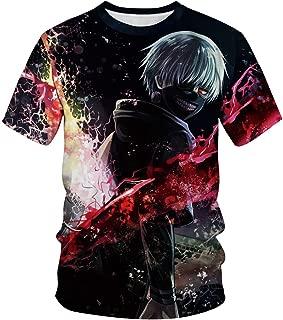 JJCat Men's O-Neck 3D Digital Print Short Sleeve Tokyo Ghouls Design Summer T-Shirts