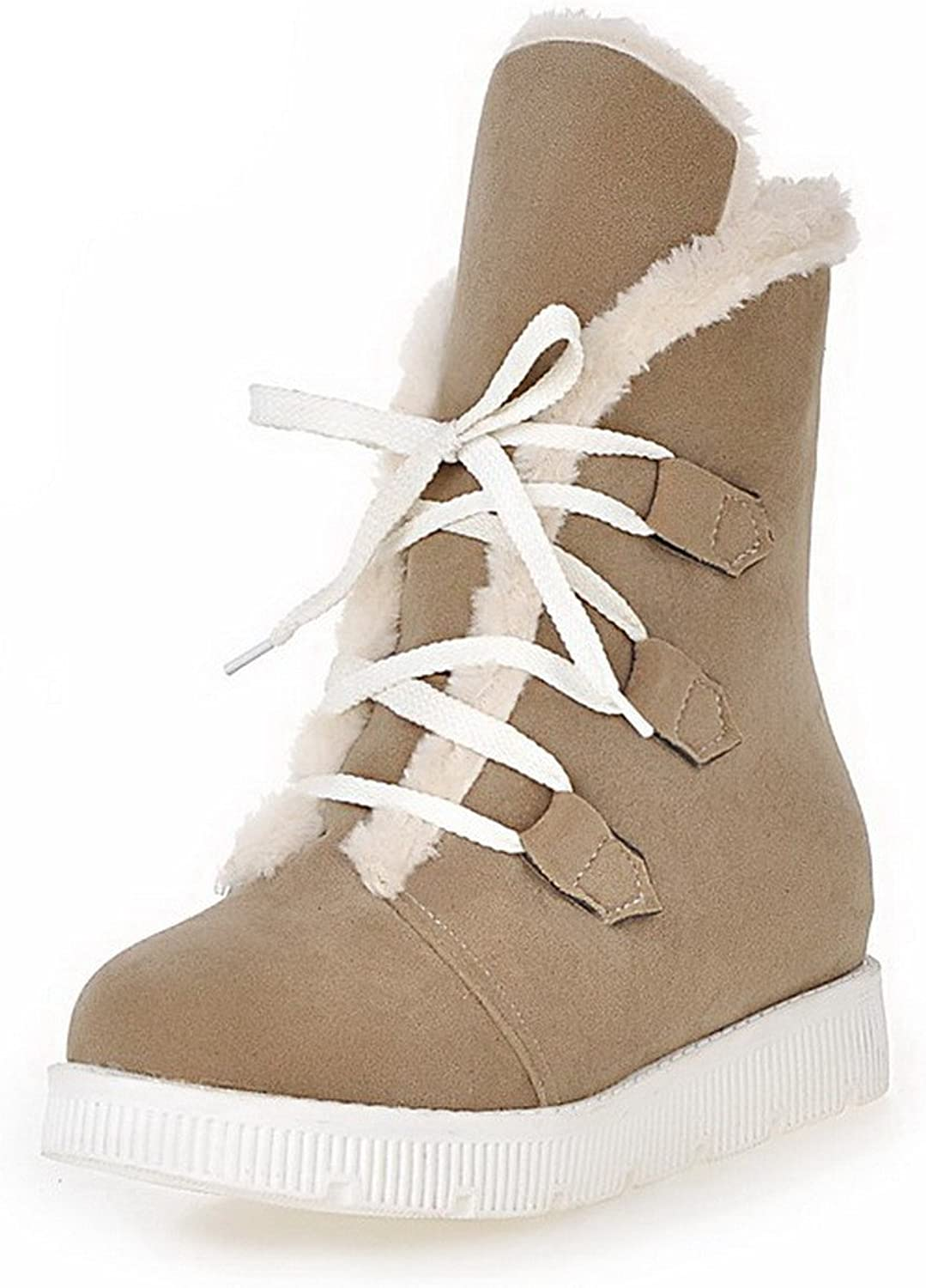 AllhqFashion Women's Low-Heels Frosted Low-Top Solid Lace-up Boots