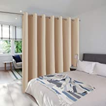 NICETOWN Room Divider Blackout Curtains, Grey/Beige/Black/White/Cappuccino Color Option, 8-15ft Wide x 7-9ft Tall W12.5' x L8' Beige NTRMDVDT8W12.5C14