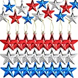4th of July Patriotic Day 24 Pcs Hanging Star Ornament, Independence Day Hanging Star Ornaments, Hanging Star Decorations for Indoor Outdoor Party Decor, Glitter, Blue Red and Silver