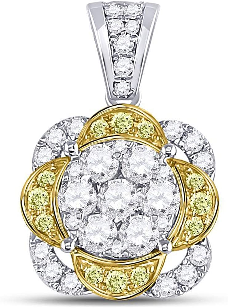 14kt Special sale item White Gold Womens Round Cluster Yellow Flower Penda Challenge the lowest price of Japan Diamond