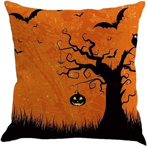 Halloween Decorations Pillow Covers 18x18 Gotd Vintage Throw Pillow Case Cushion Home Decor Decorative Pillowcase Multicolor G