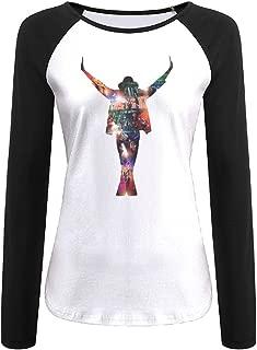 Creamfly Womens King Of Pop Michael Long Sleeve Raglan Baseball Tshirt