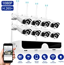 Wireless Security Camera System 1080P Abowone Wireless 8 Channel H.265 NVR 8PCS 2.0MP 1080P Waterproof Indoor/Outdoor Wireless IP Cameras Motion Detect Remote View 100ft Night Vision(No Hard Drive)