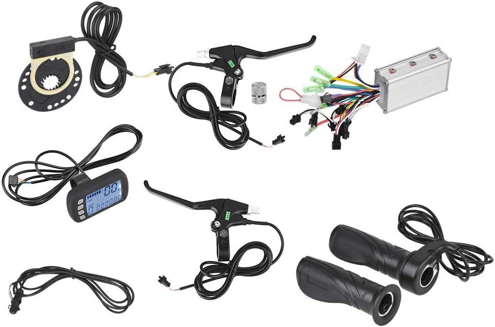 Demeras Kit de Controlador sin escobillas con Panel LCD para E-Bike Scooter de Bicicleta eléctrica 24V/36V 250W/350W