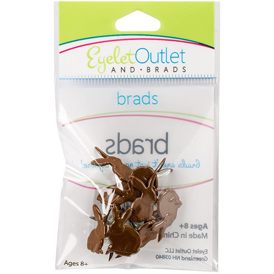 EYELET OUTLET 189 Shape Brads 12/Pkg-Chocolate Bunny