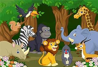 YongFoto 1,5x1m Vinilo Fondo de fotografía Divertidos Dibujos Animados de Animales Parque Zoologico León Mono Elefante Flores de arboles Telón de Fondo de Fotografía Estudio de Foto Studio Props