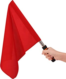 Ylucky Referee Flags Stainless Steel Command Hand Flag Red Signal Flag Sponge Handle Special Patrol Performance Linesman Official Flag for Soccer Volleyball Football Track and Filed Competition
