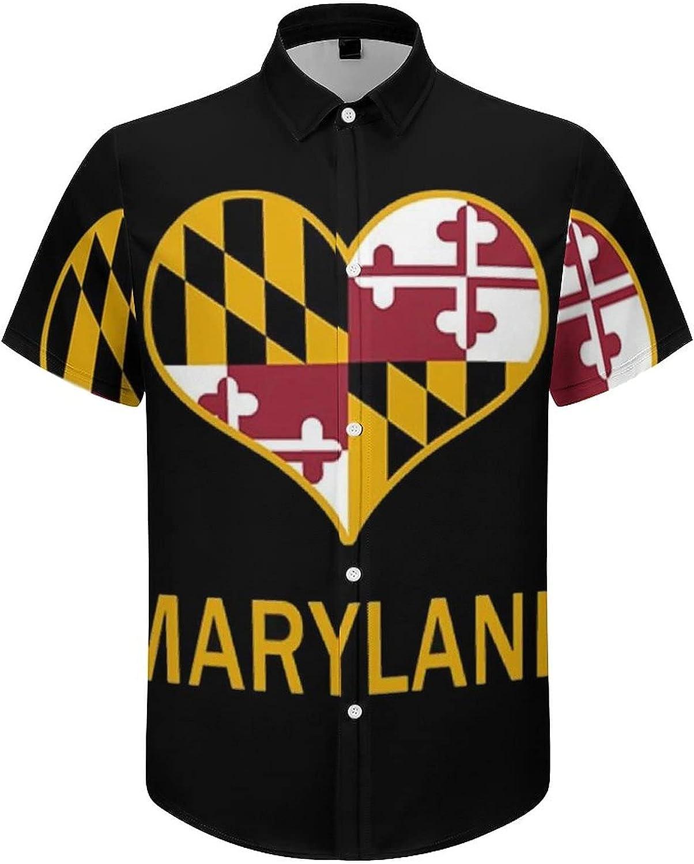 Hawaiian Shirts for Men Maryland Flag Heart Printed Beach Shirt Hawaiian Shirts