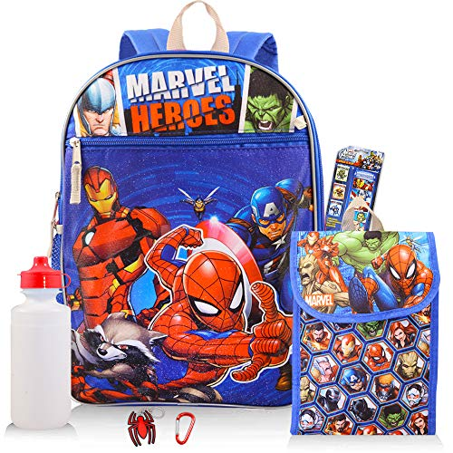 Marvel Avengers Backpack with Lunchbox for Boys Kids Bundle Set ~ 6 Pc Deluxe 16' Avengers Backpack,Lunch Bag, Stickers and More (Avengers School Supplies)
