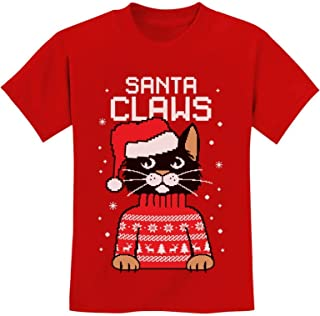 Tstars - Santa Claws Cat Ugly Christmas Sweater Youth Kids T-Shirt