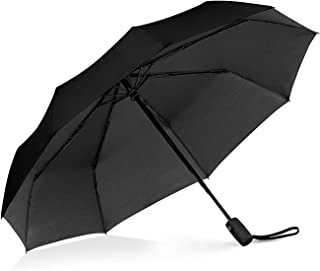 Windproof Umbrella , Gyvazla Portable Compact Travel Umbrella Compact Automatic Open Close Small Folding Teflon Repellent Canopy Umbrellas fit Golf Purse Backpack Wind Resistant for Men and Women Traveler - Black