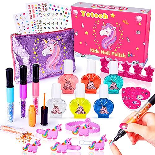 Yetech Unicorno Set di smalti per Unghie per Bambini,21 Pz Set Smalti Peel-off per Unghie a Base d'Acqua,con 3 in 1 pennarelli per Nail Art,Grandi Regali per Ragazze 4 5 6 7 8 9.