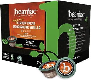 beaniac Flavor Freak Madagascar Vanilla | Flavored Light Roast, Single Serve Coffee K Cup Pods | Rainforest Alliance Certi...